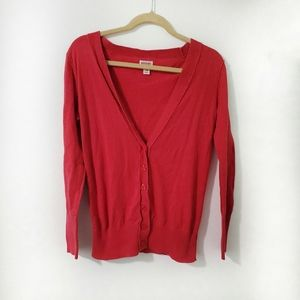 3/$20, Mossimo Red Cotton Button V-Neck Cardigan M